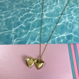 Heart Locket Necklace with Rose Detail Gold Tone